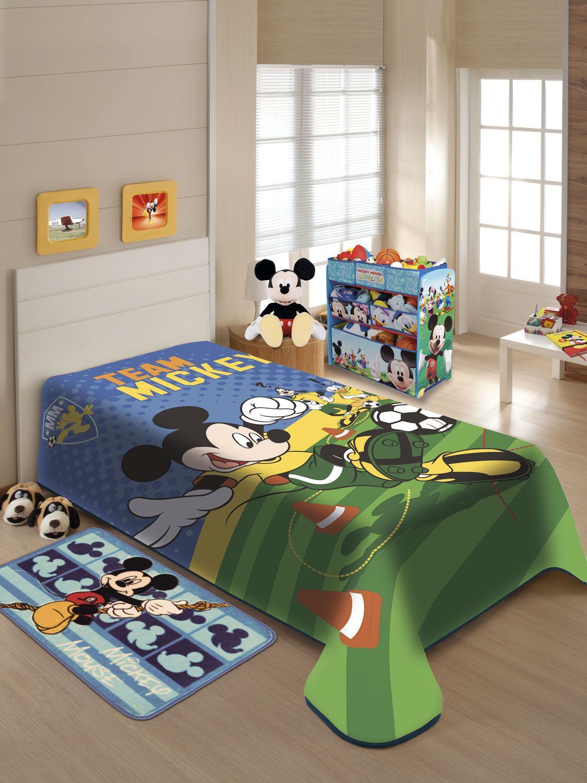 Cobertor Juvenil Jolitex Solteiro Não Alérgico 1,50 x 2,00 Mt Disney Mickey Futebol