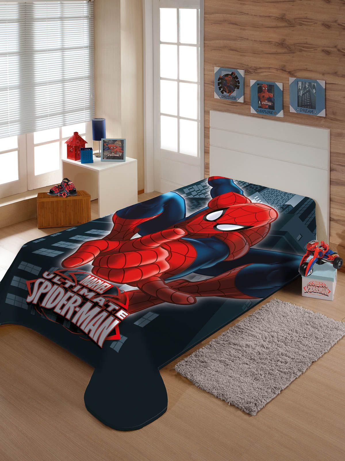 Cobertor Juvenil Jolitex Solteiro Não Alérgico 1,50 x 2,00 Mt Marvel Homem Aranha