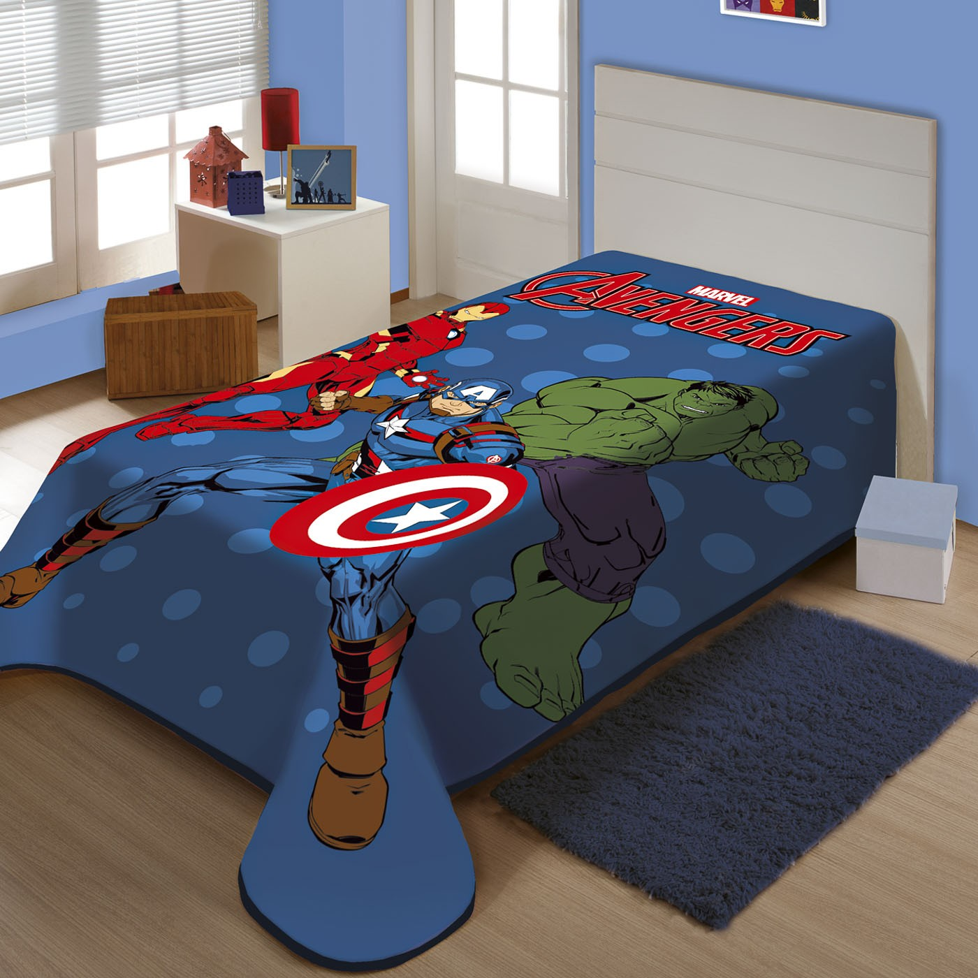 Cobertor Juvenil Raschel Plus Marvel Avengers Em Ação Jolitex