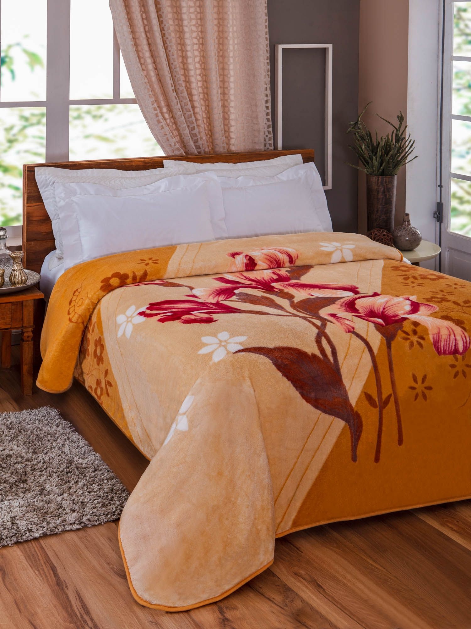 Cobertor Microfibra Jolitex Orquideas Kyor Plus Casal 1,80 m x 2,20 m