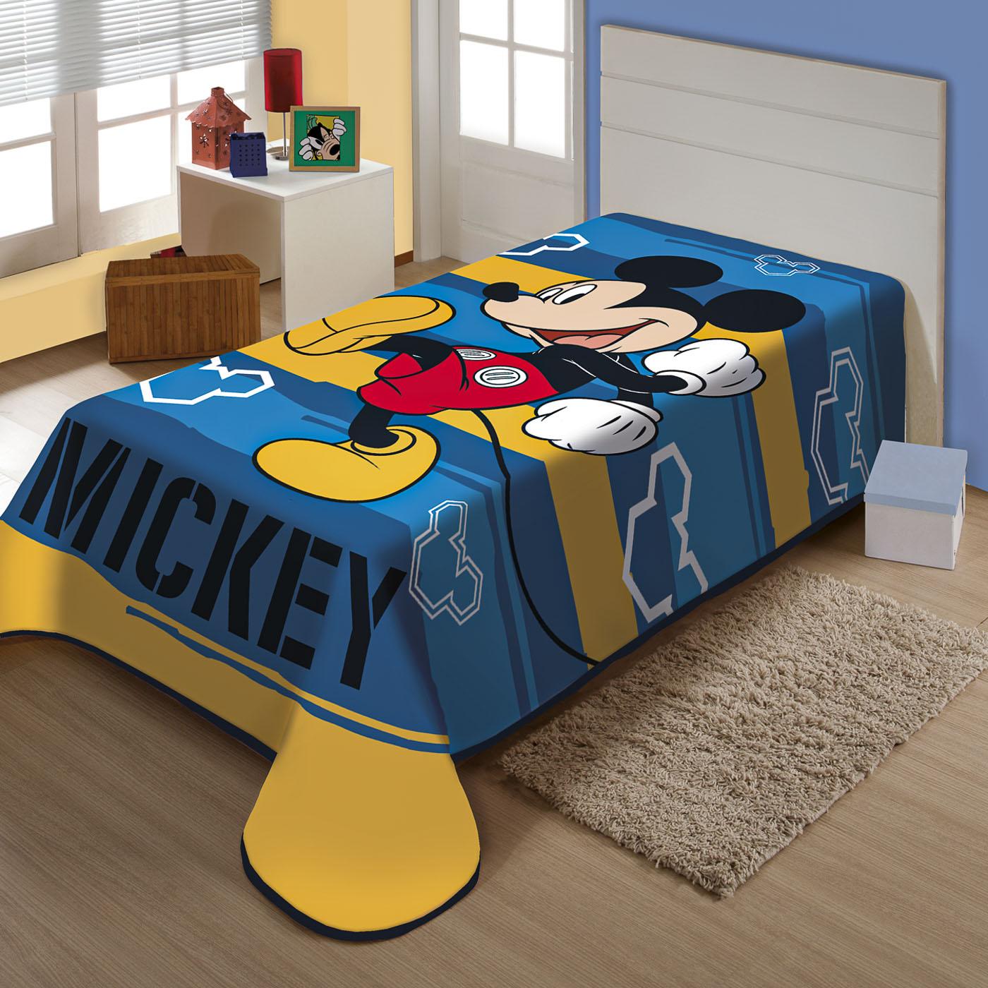 Cobertor Solteiro Juvenil Raschel Jolitex Disney Mickey Feliz