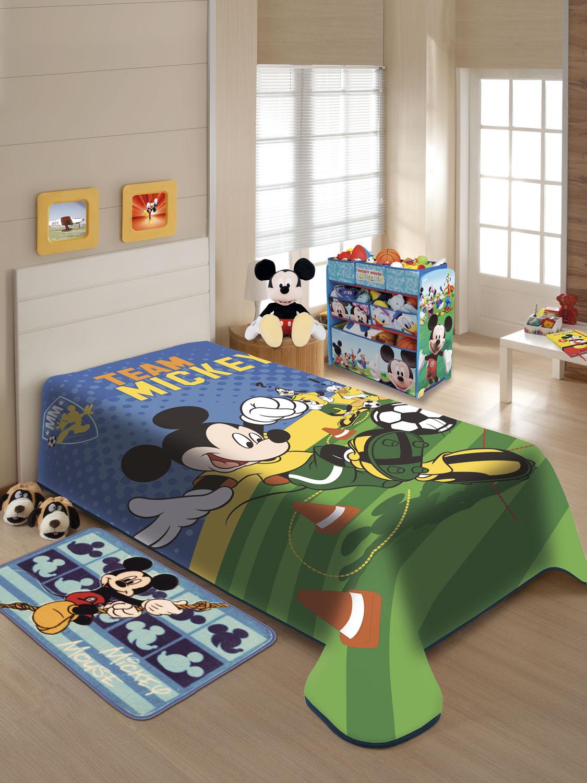 Cobertor Solteiro Juvenil Raschel Jolitex Disney Mickey Futebol