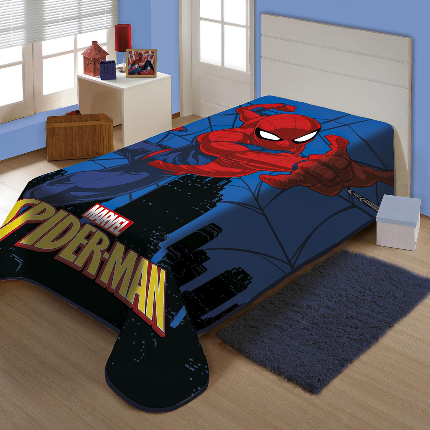 Cobertor Solteiro Juvenil Raschel Plus Jolitex  Homem Aranha