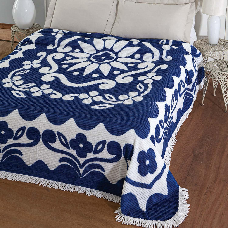 Colcha Chenille Jolitex Casal Florida 2,20x2,40m Azul