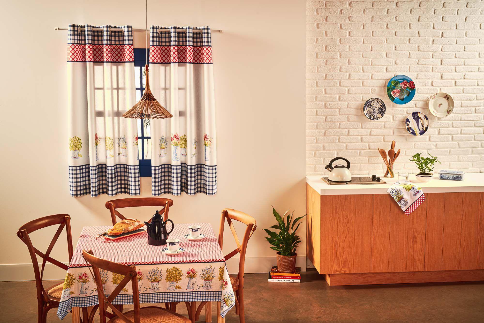 Cortina de cozinha mille toscana santista 2,60x1,40m 54% algodão 46% poliéster