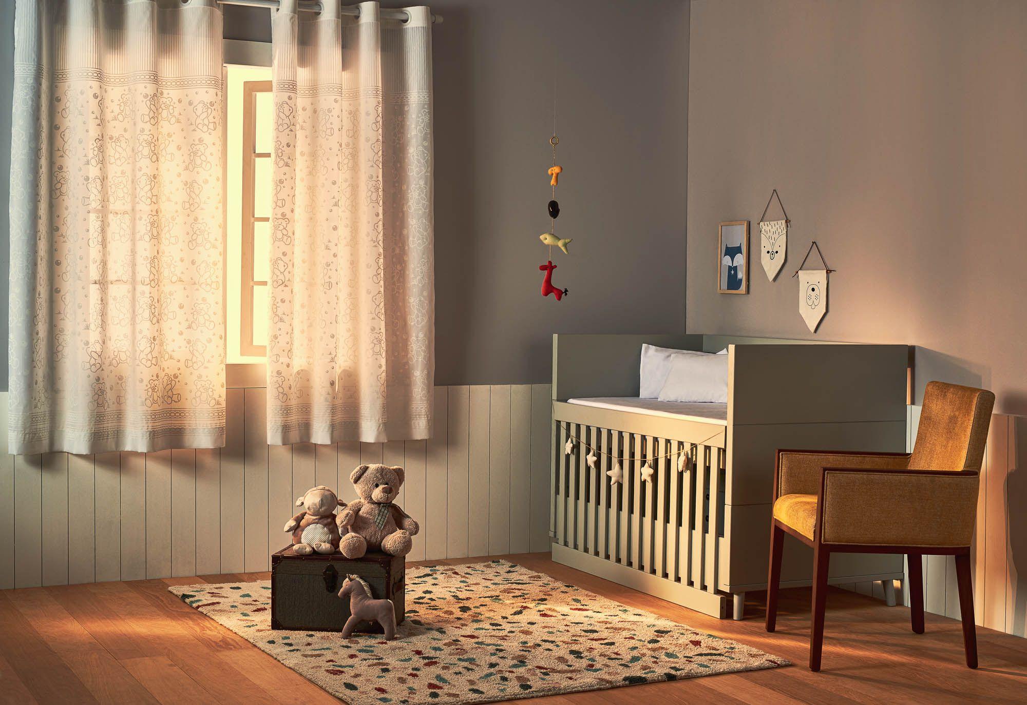 Cortina de quarto bebê santista 2 m largura baby teddy branca