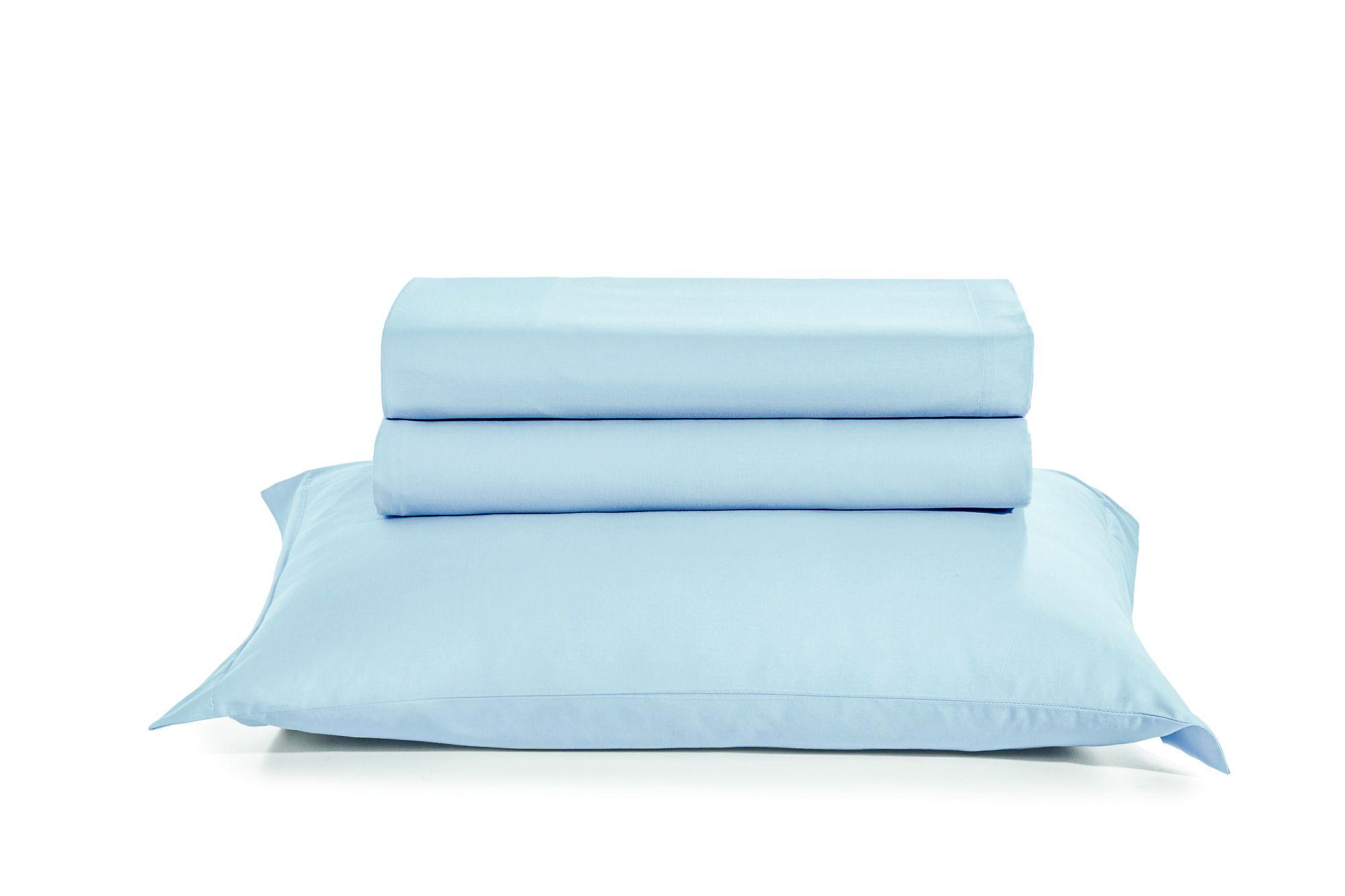 Fronha percal 180 fios artex total mix 50 cm x 70 cm 100% algodao azul claro