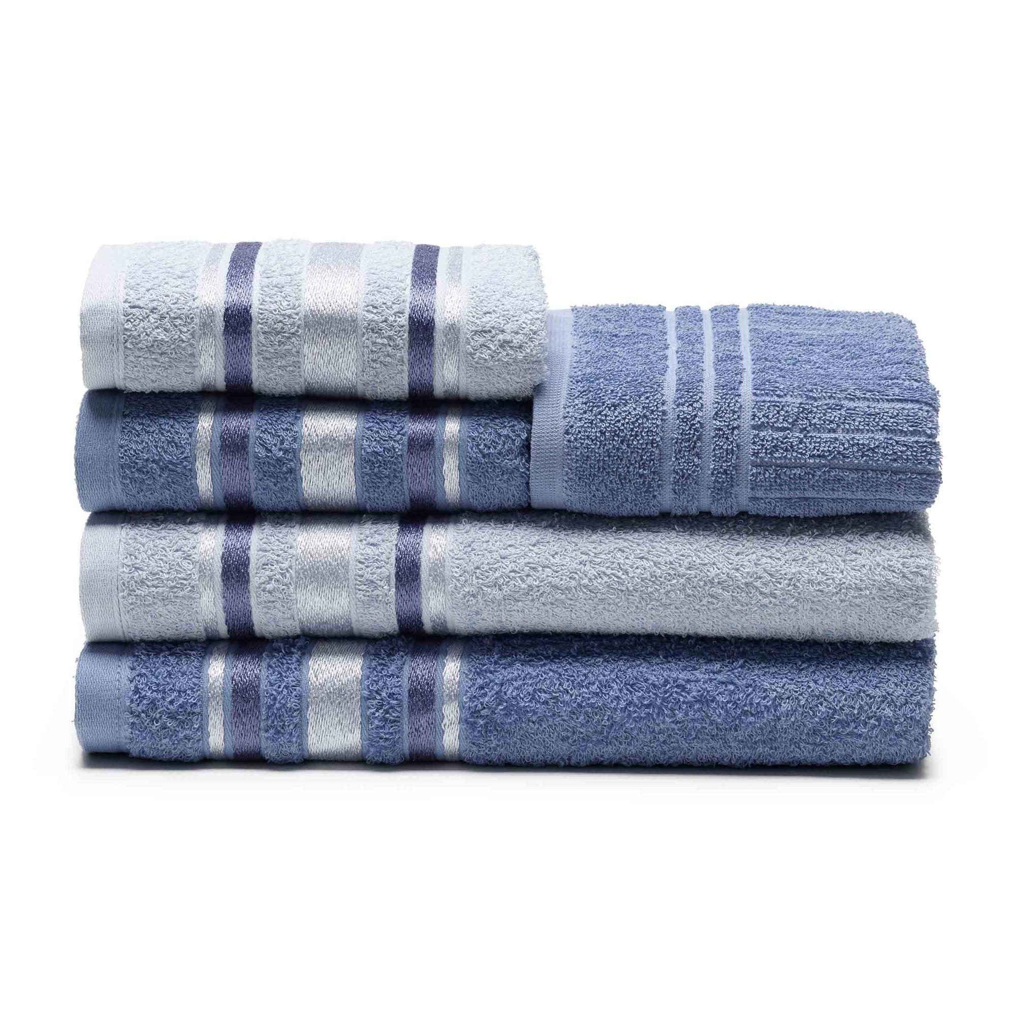 Jogo de banho azul serena indigo 5 peças 100% algodao santista