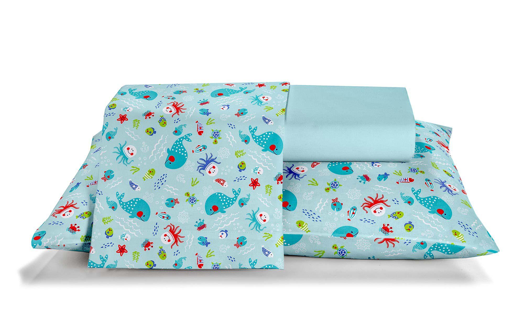 Jogo de berço santista baby glub piscina 100% algodao azul