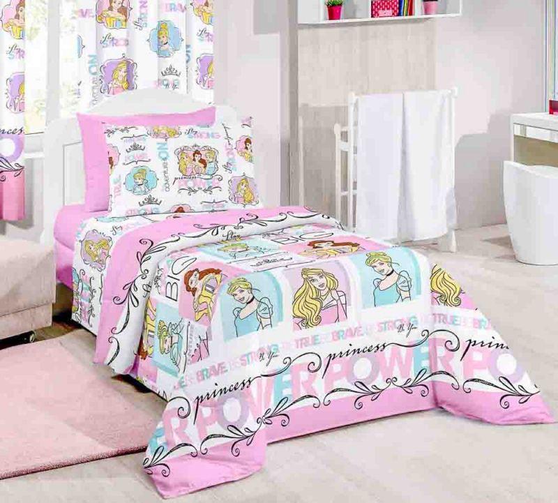 Jogo de cama disney duplo solteiro princesa power santista