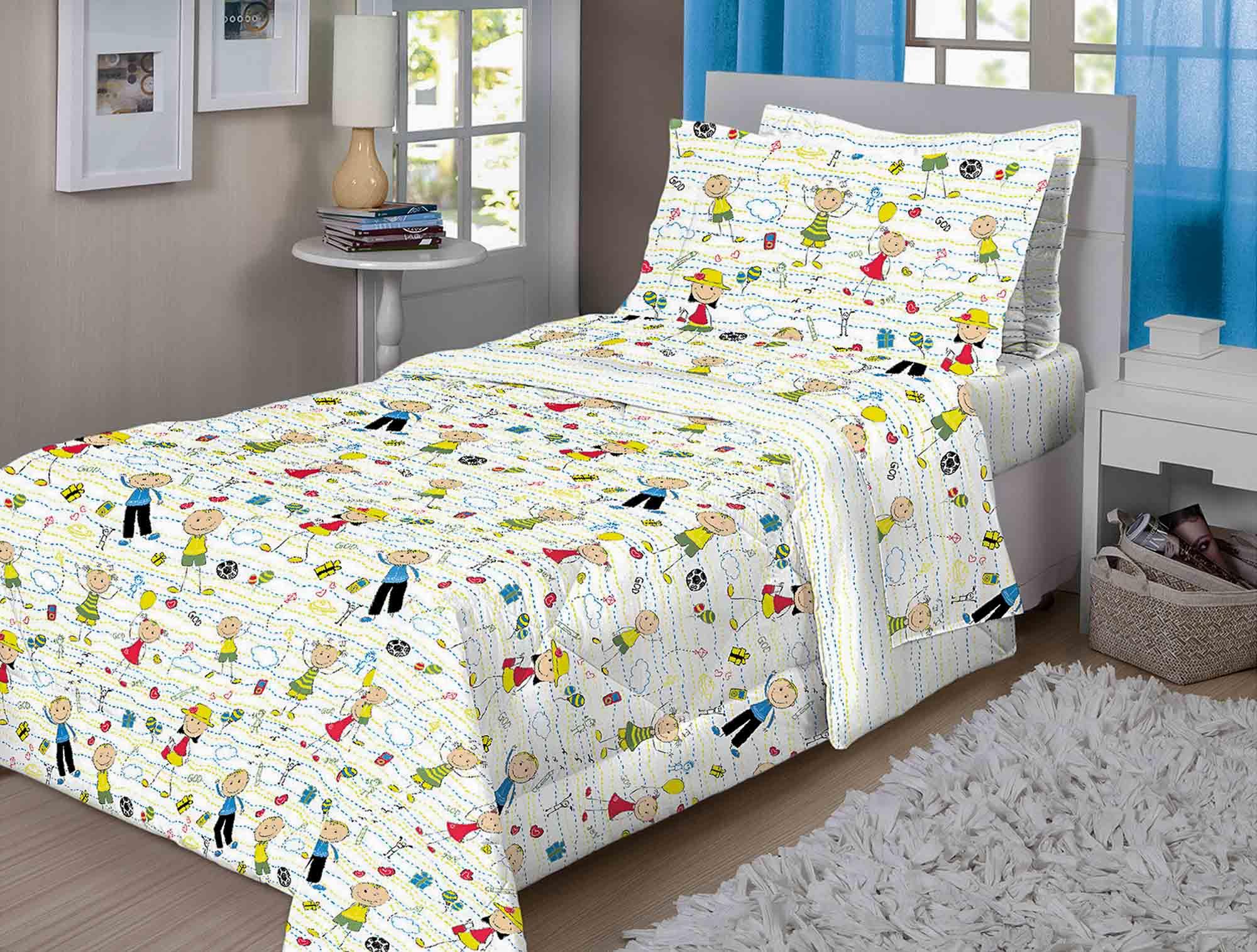 Jogo de Lençol Infantil 3 Peças 140 fios Kids Realce Premium Sultan 1,88 m x 0,88 m altura 30 cm