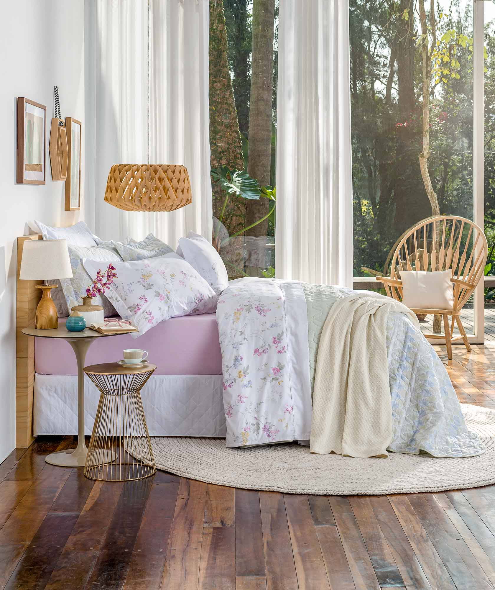 Jogo de lençol casal 200 fios charlotte rosa santista