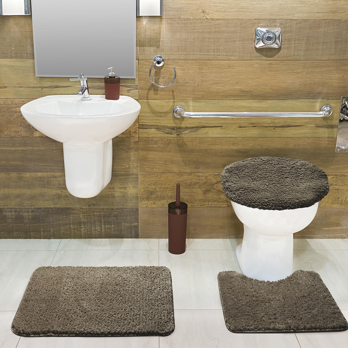 Jogo Tapete de Banheiro Volpi Caqui 03 Peças Jolitex