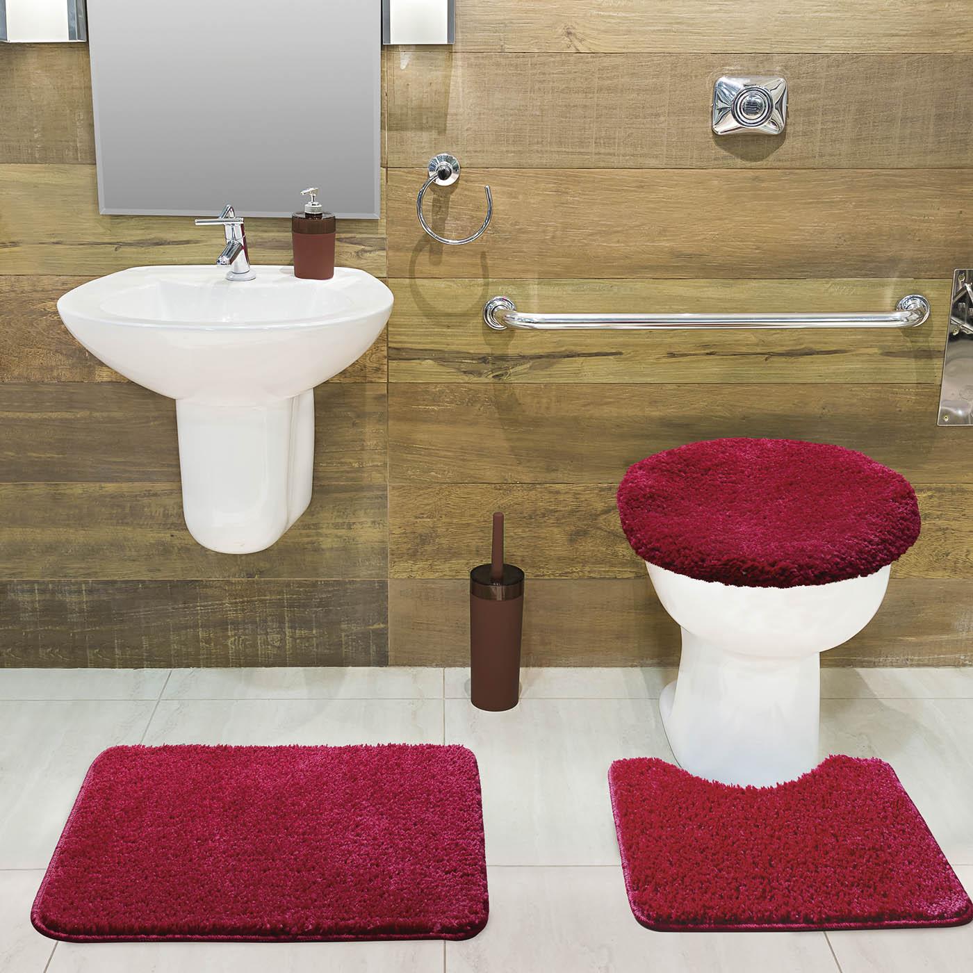 Jogo Tapete de Banheiro Volpi Vermelho 03 Peças Jolitex