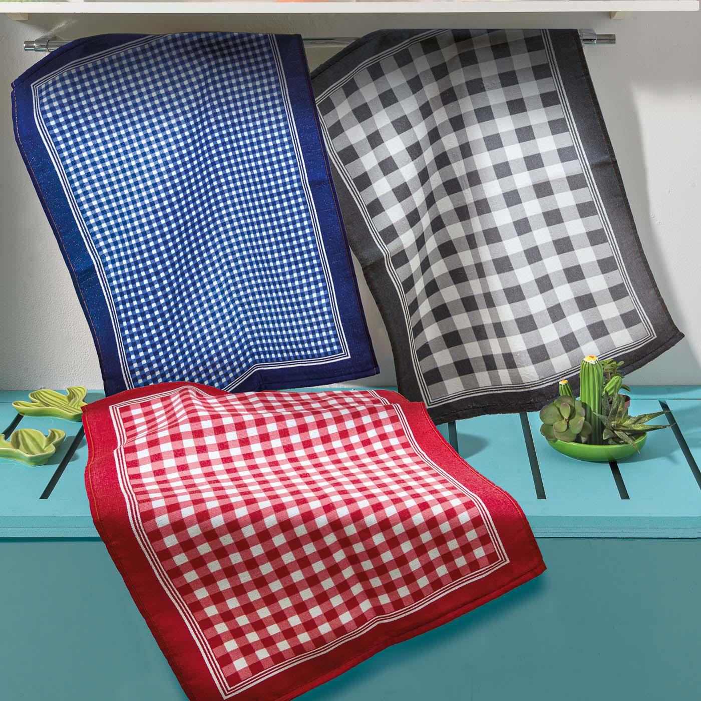 Kit 3 panos de copa felpudo dohler 45x65 cm 100% algodão xadrez 01