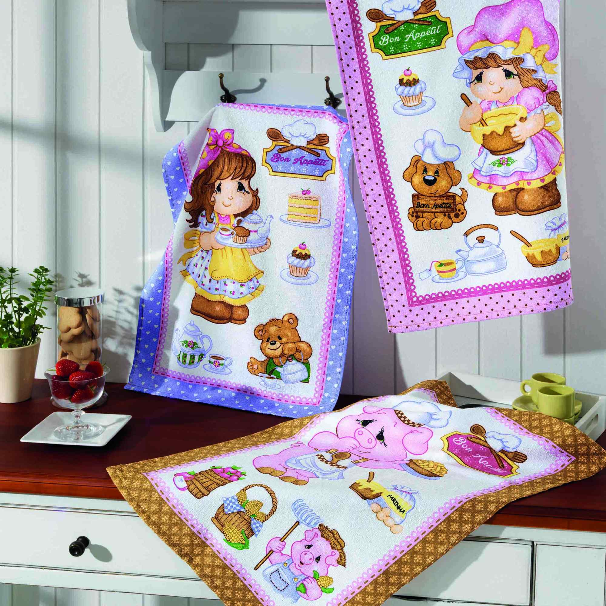 kit 3 panos de copa felpudo prata estampado dohler 100% algodão happy kitchen