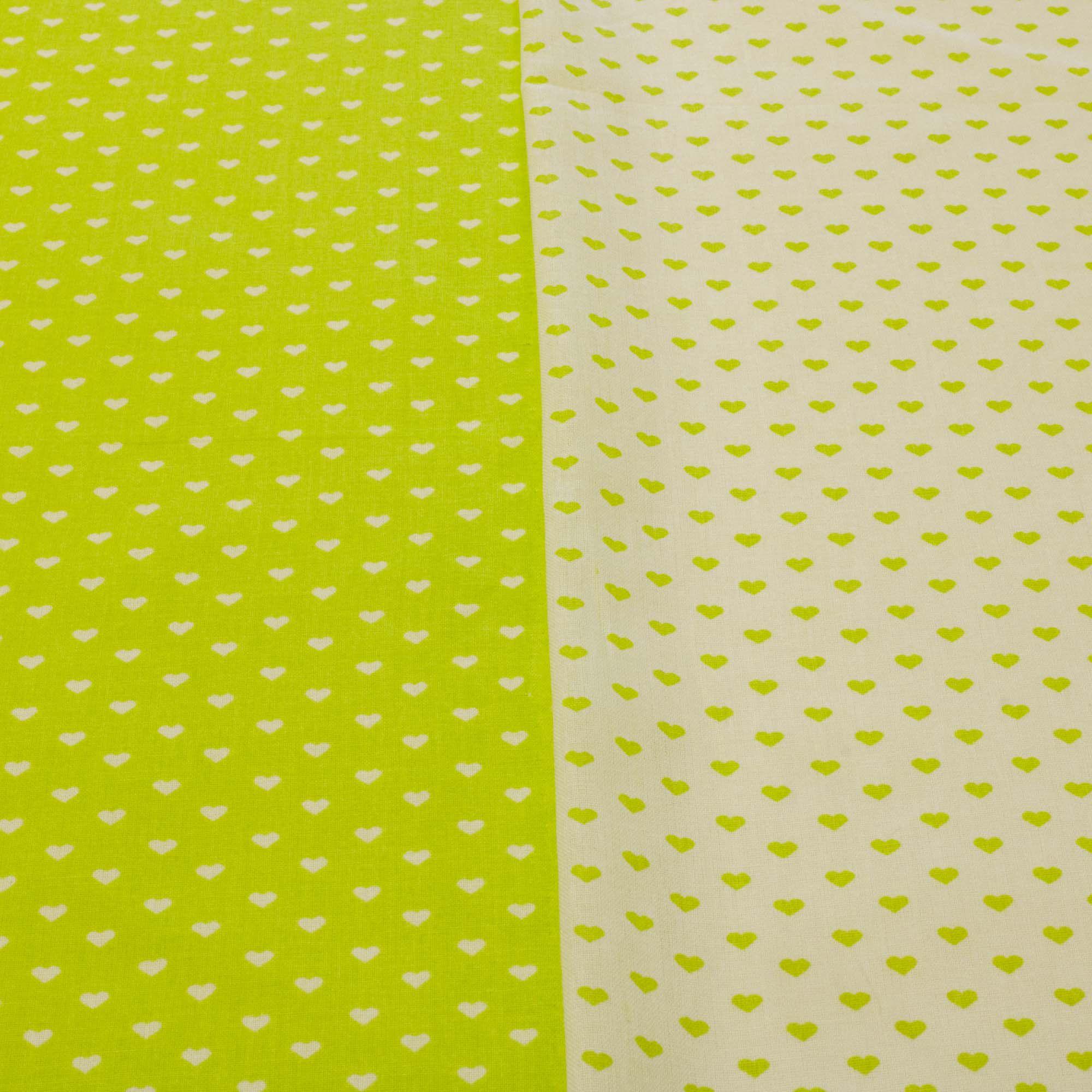 Kit Composê tecido tricoline coração 1,40 m largura verde