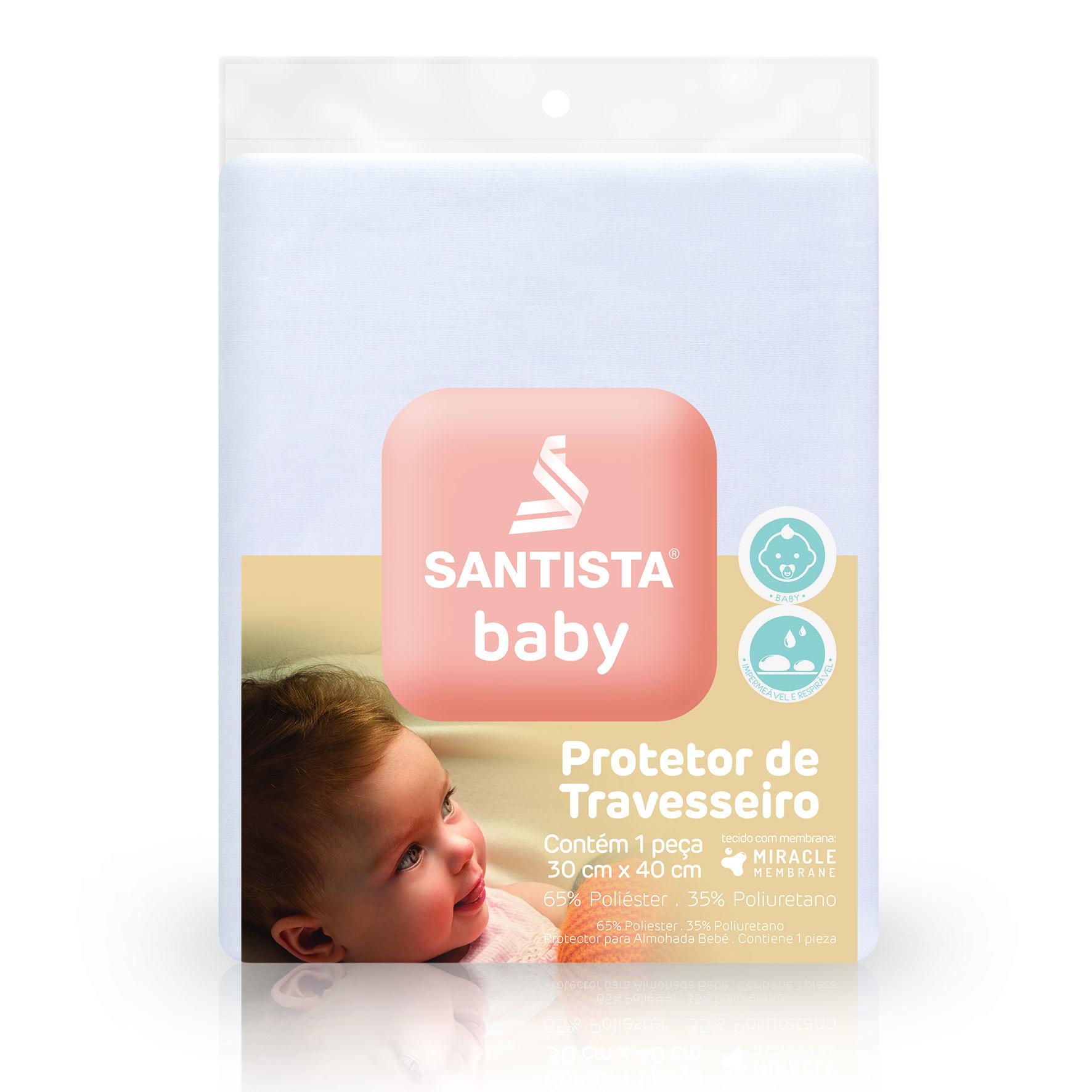 Protetor de Travesseiro Impermeável Baby Santista Branco
