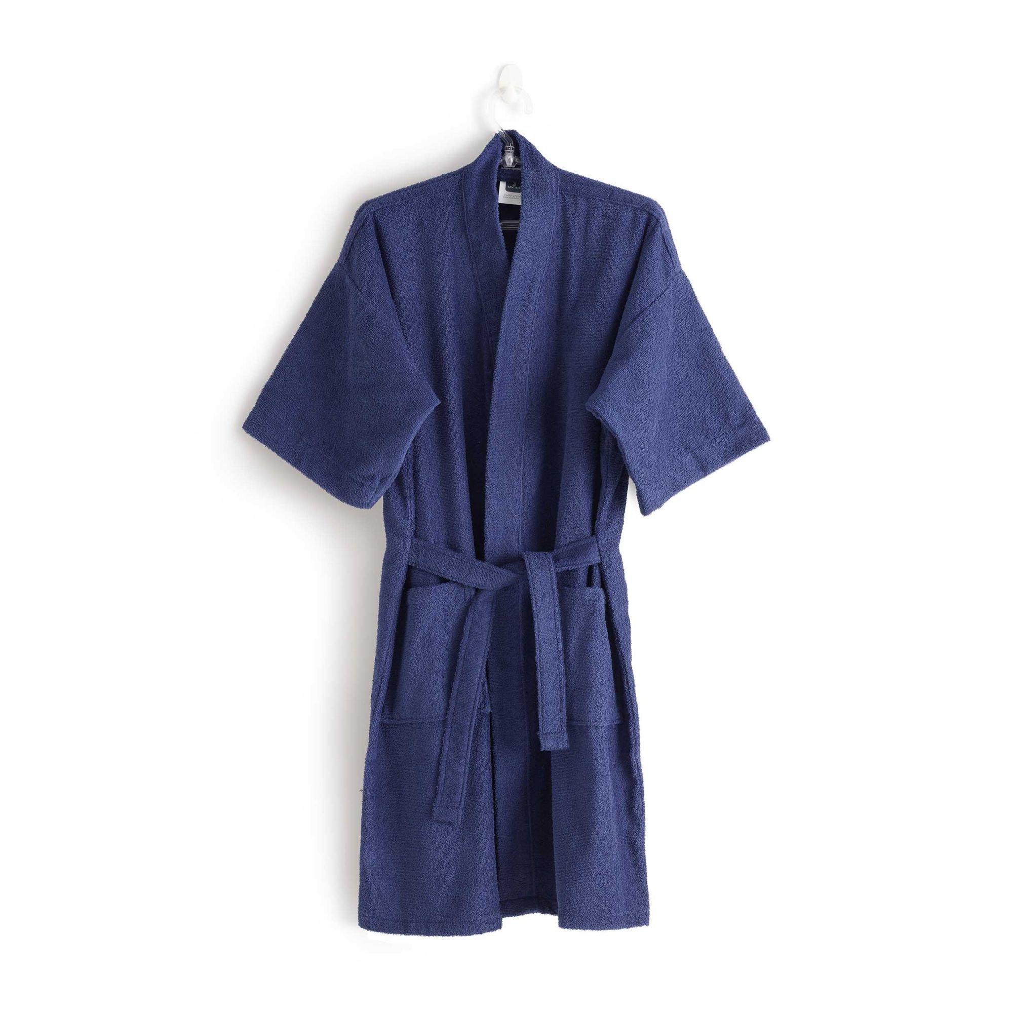Roupão felpudo judoca azul santista grande 100% algodao