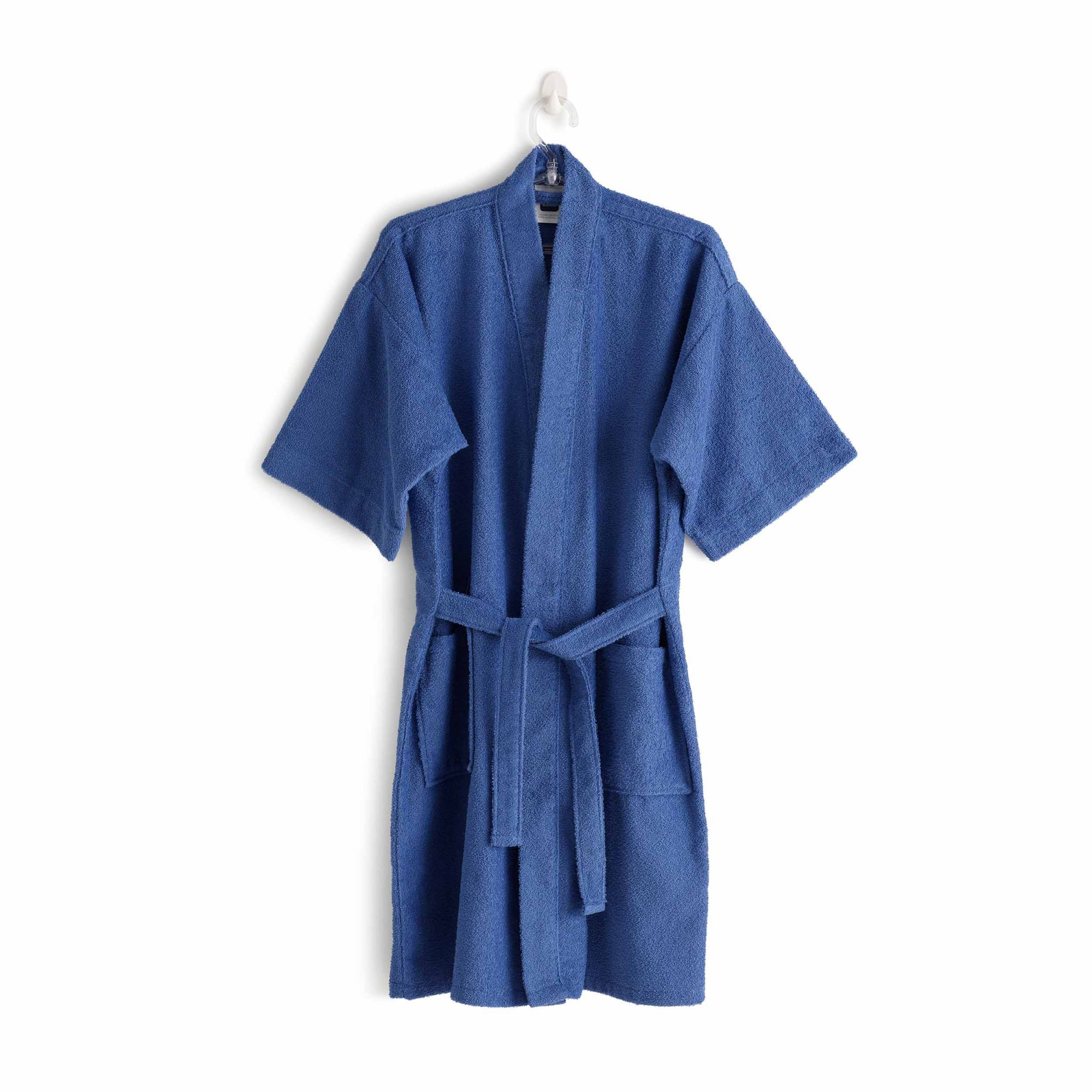 Roupão felpudo judoca santista grande 100% algodao azul indigo