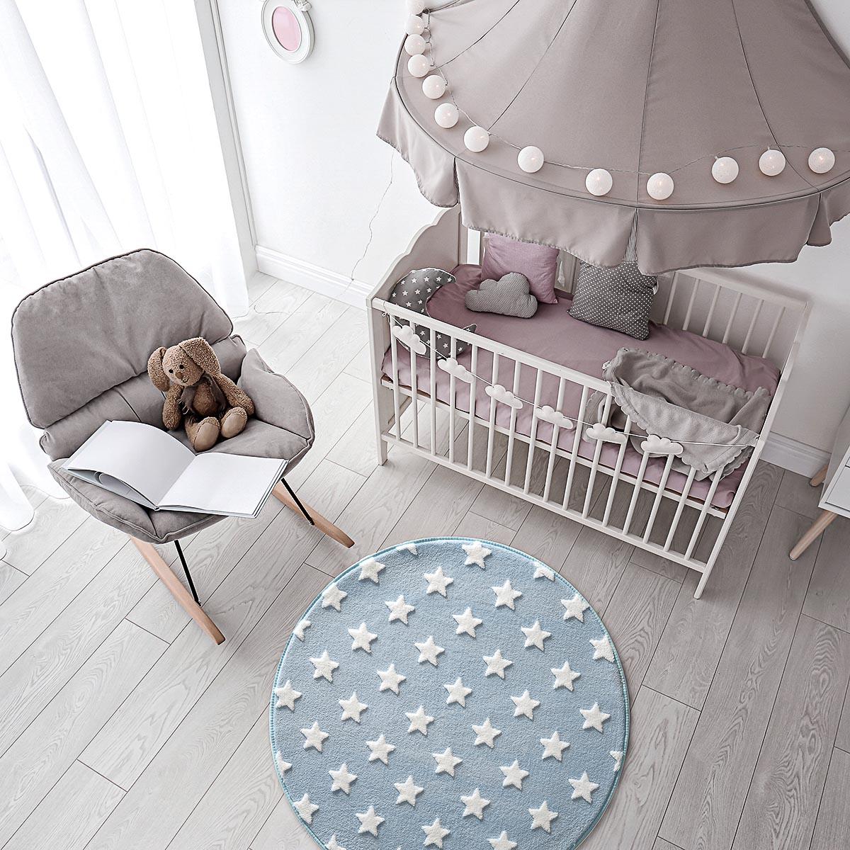 Tapete Infantil Quarto Bebê Antiderrapante Jolitex Mimo Redondo Estrelas Azul Menino