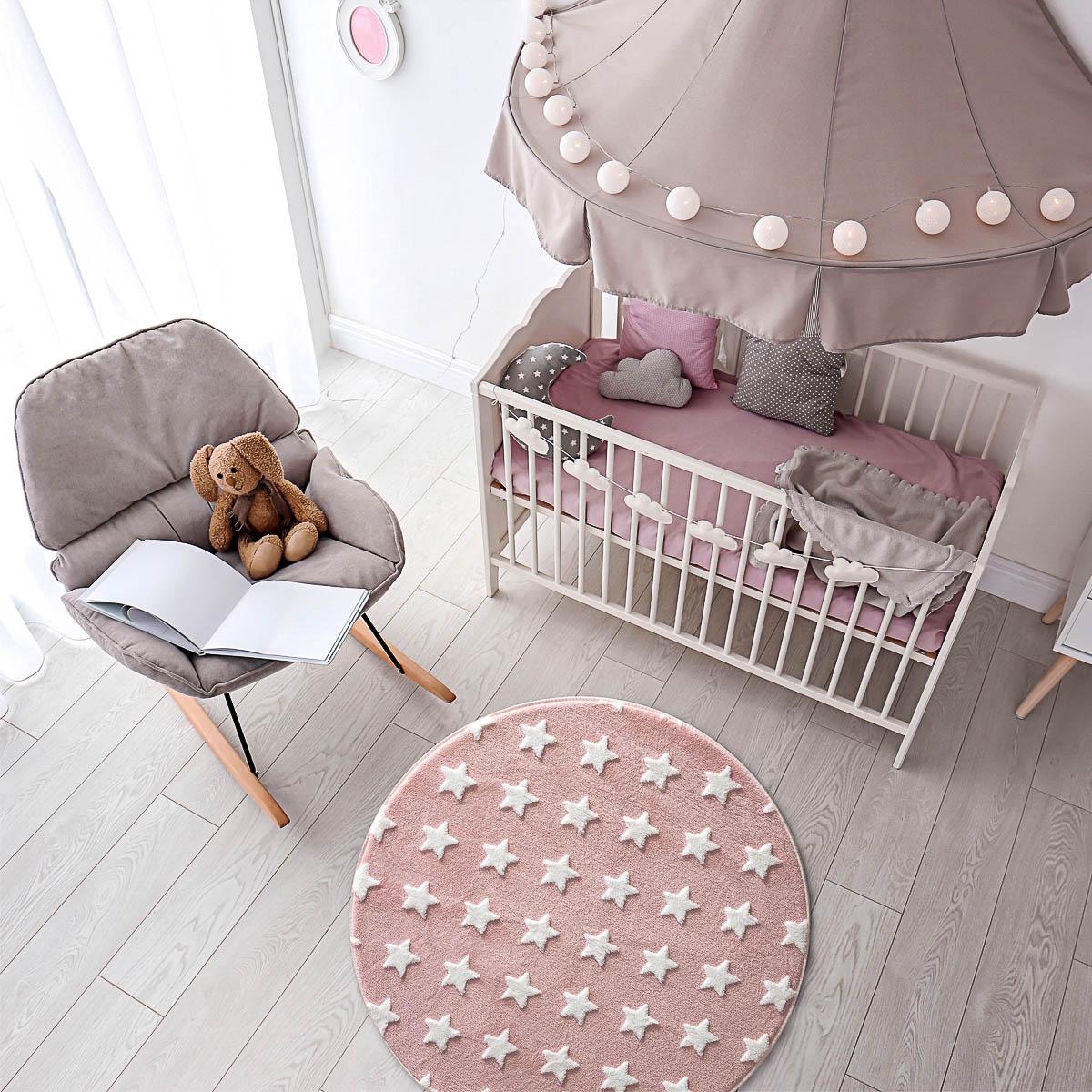 Tapete Infantil Quarto Bebe Antiderrapante Jolitex Mimo Redondo Estrelas Rosa Menina