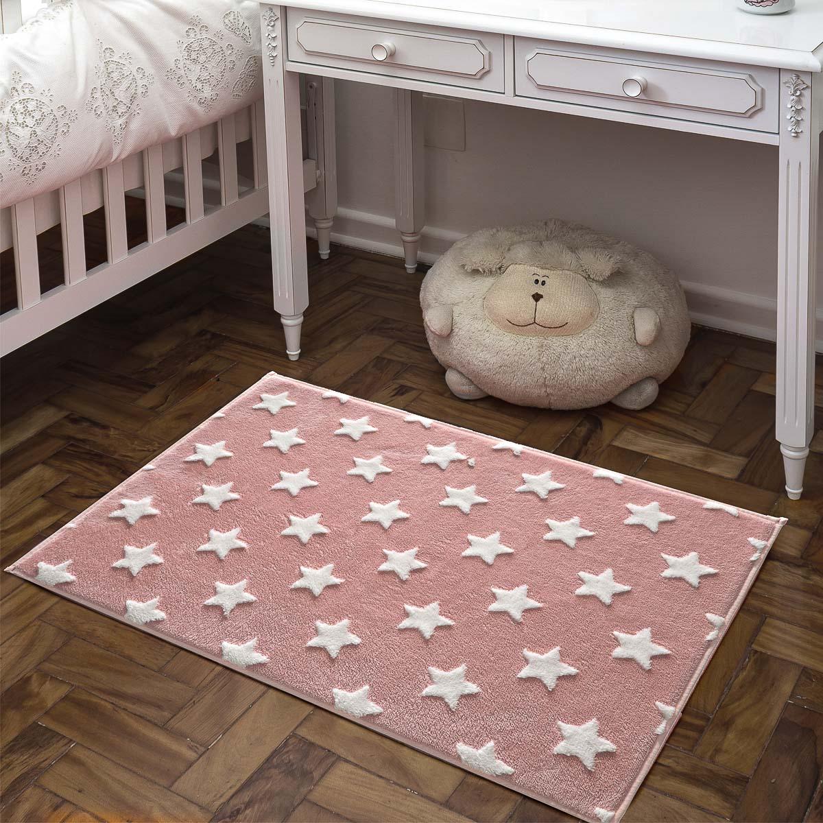 Tapete Infantil Quarto Bebe Menina Mimo 0,70x1m Estrela Rosa