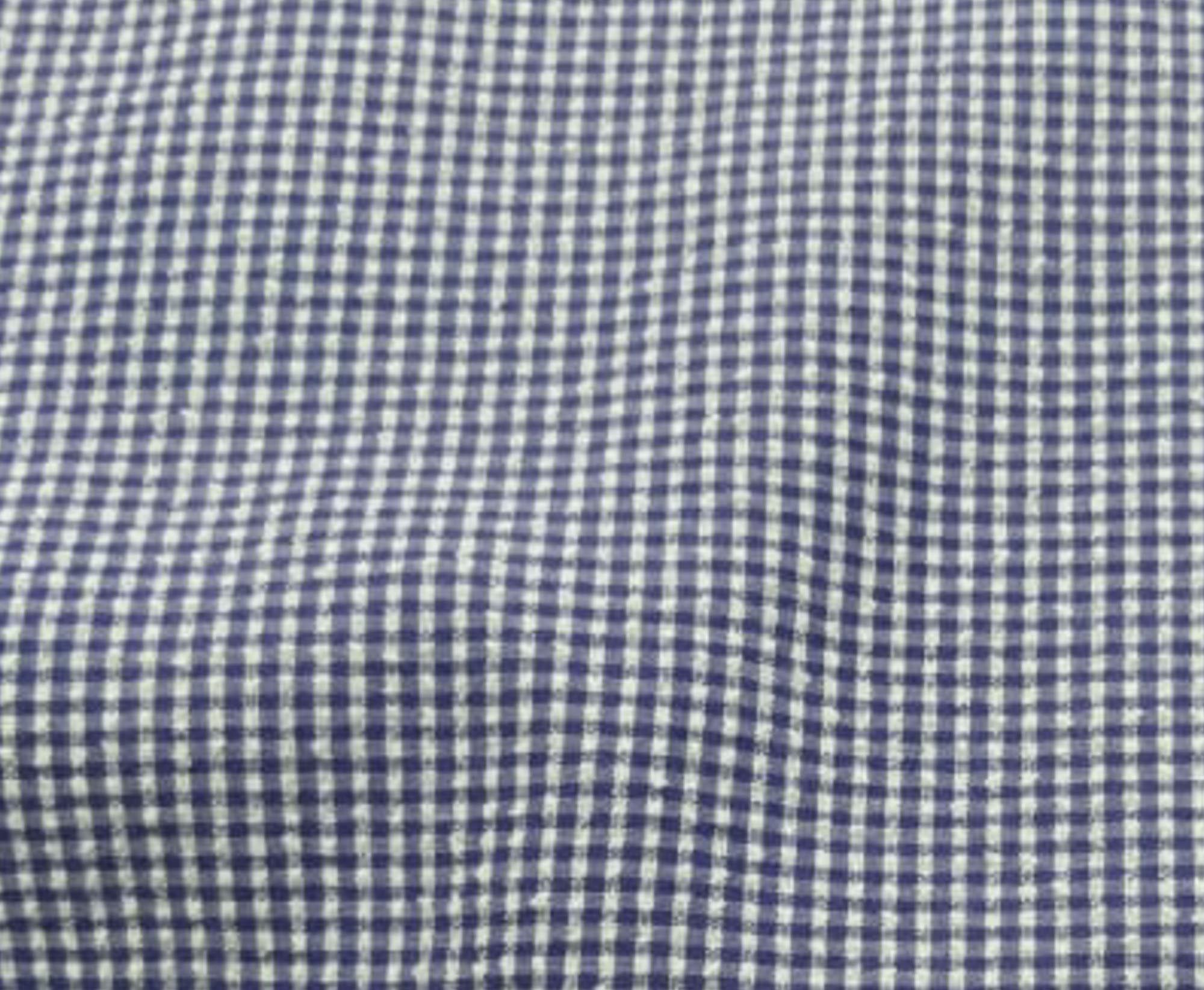 Tecido Anarruga Xadrez Azul Royal 100% Algodão 1,40 m Largura