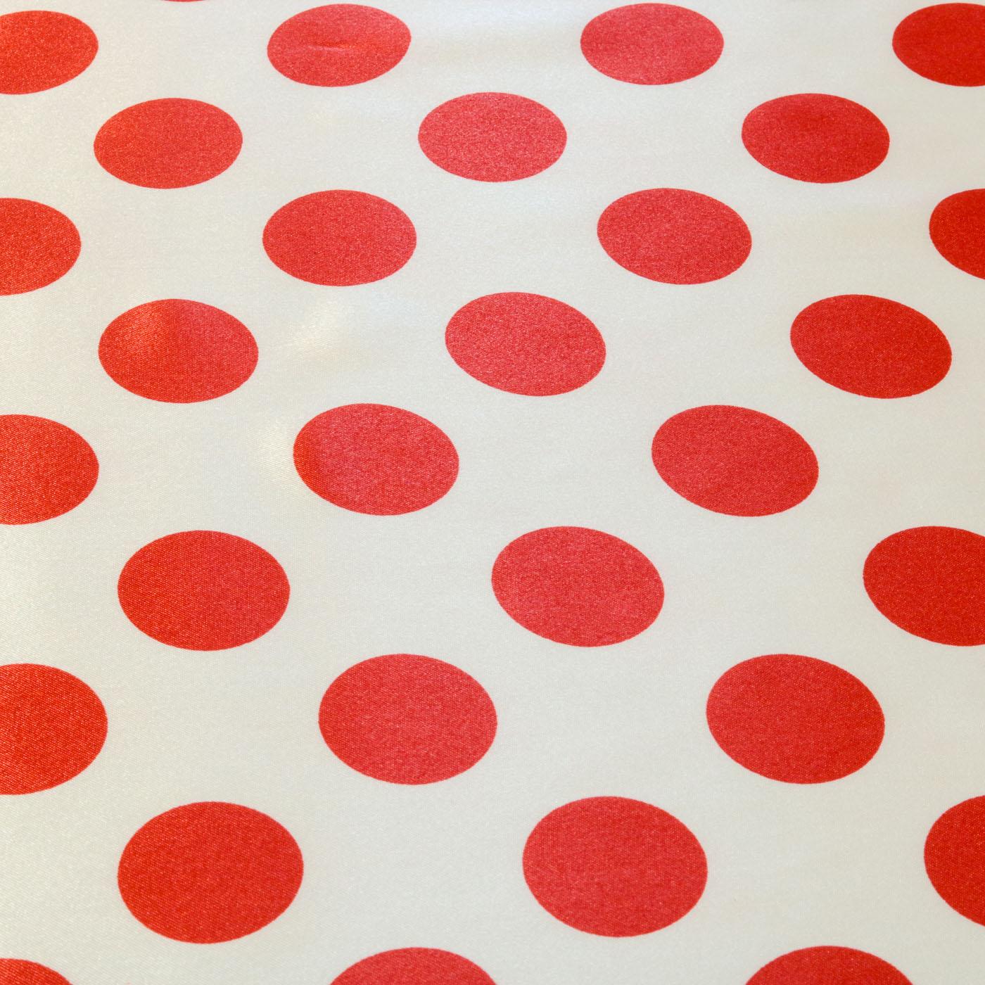 Tecido Cetim Estampado Poa 1,40m Largura Bola Vermelha