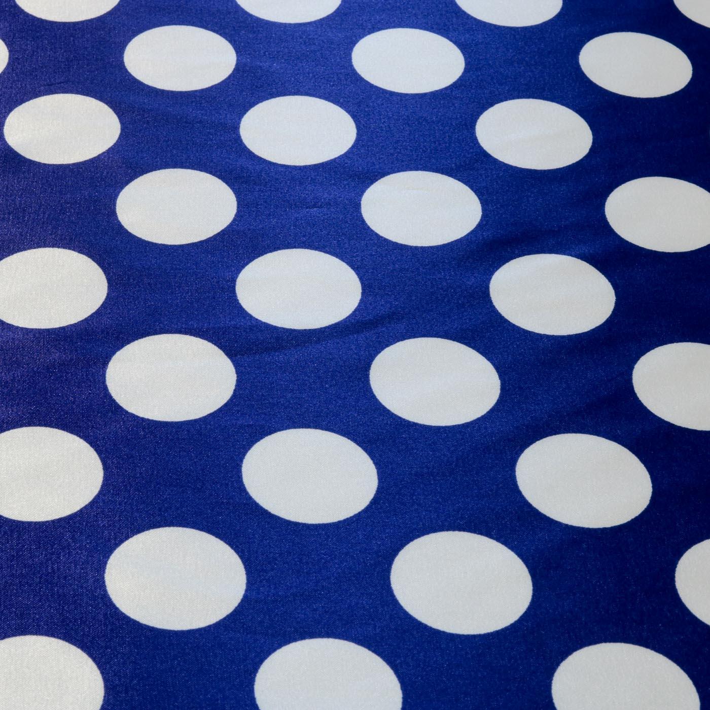 Tecido Cetim Estampado Poa Bola 1,40m Largura Fundo Azul Royal