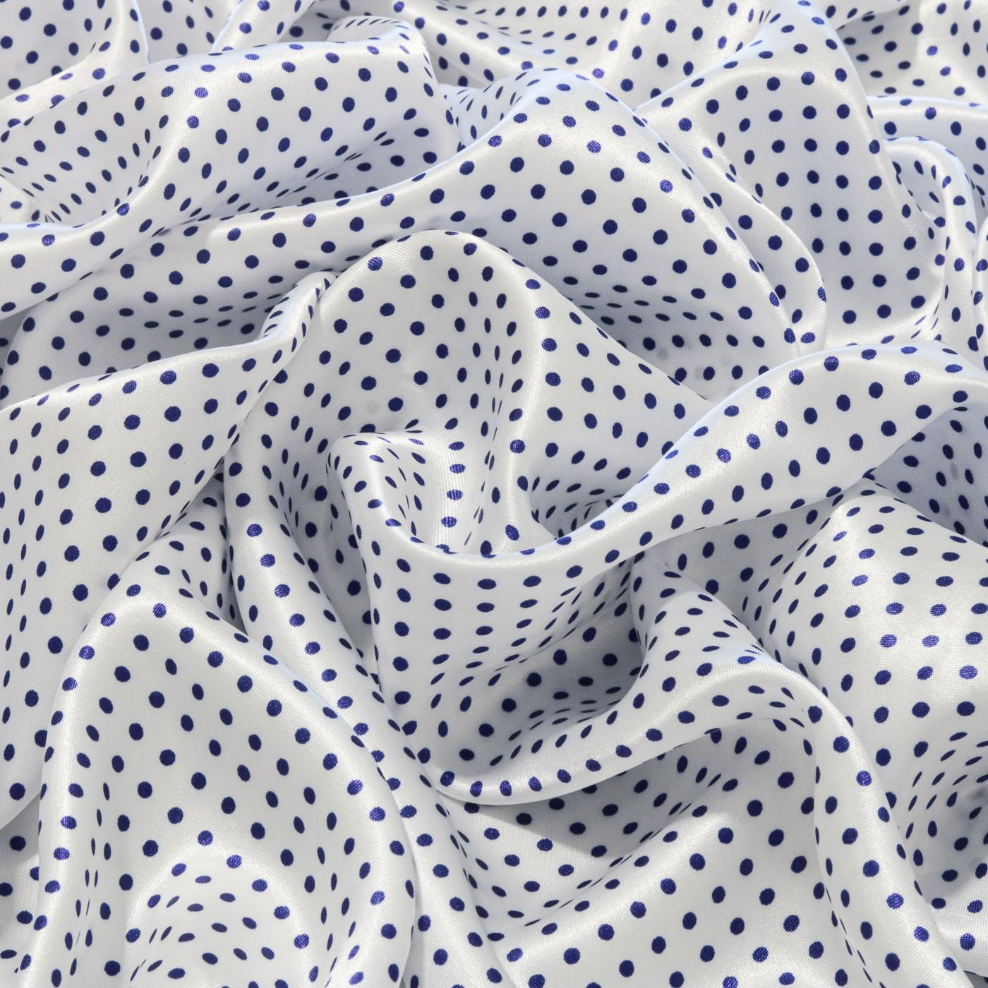 Tecido Cetim Estampado Poa Bolinha 1,40m Largura Azul Royal