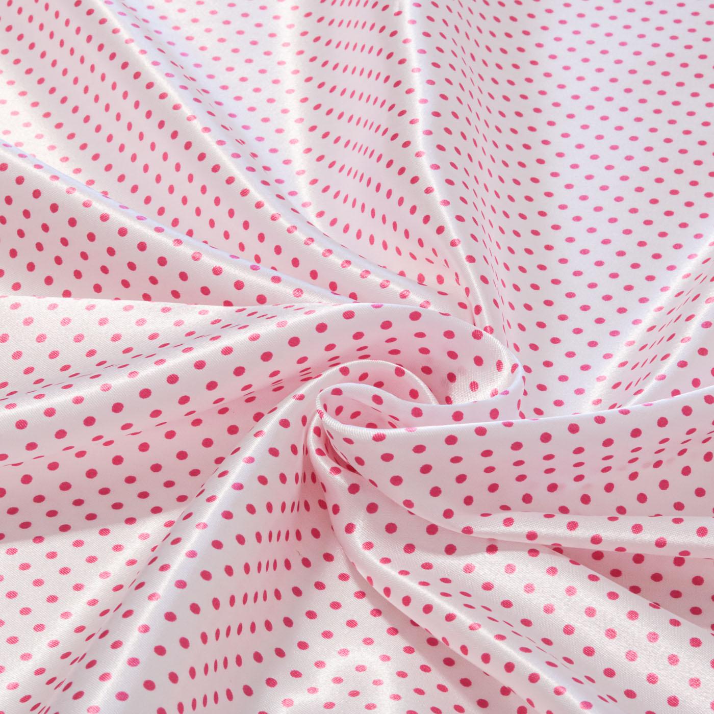 Tecido Cetim Estampado Poa Bolinha 1,40m Largura Pink
