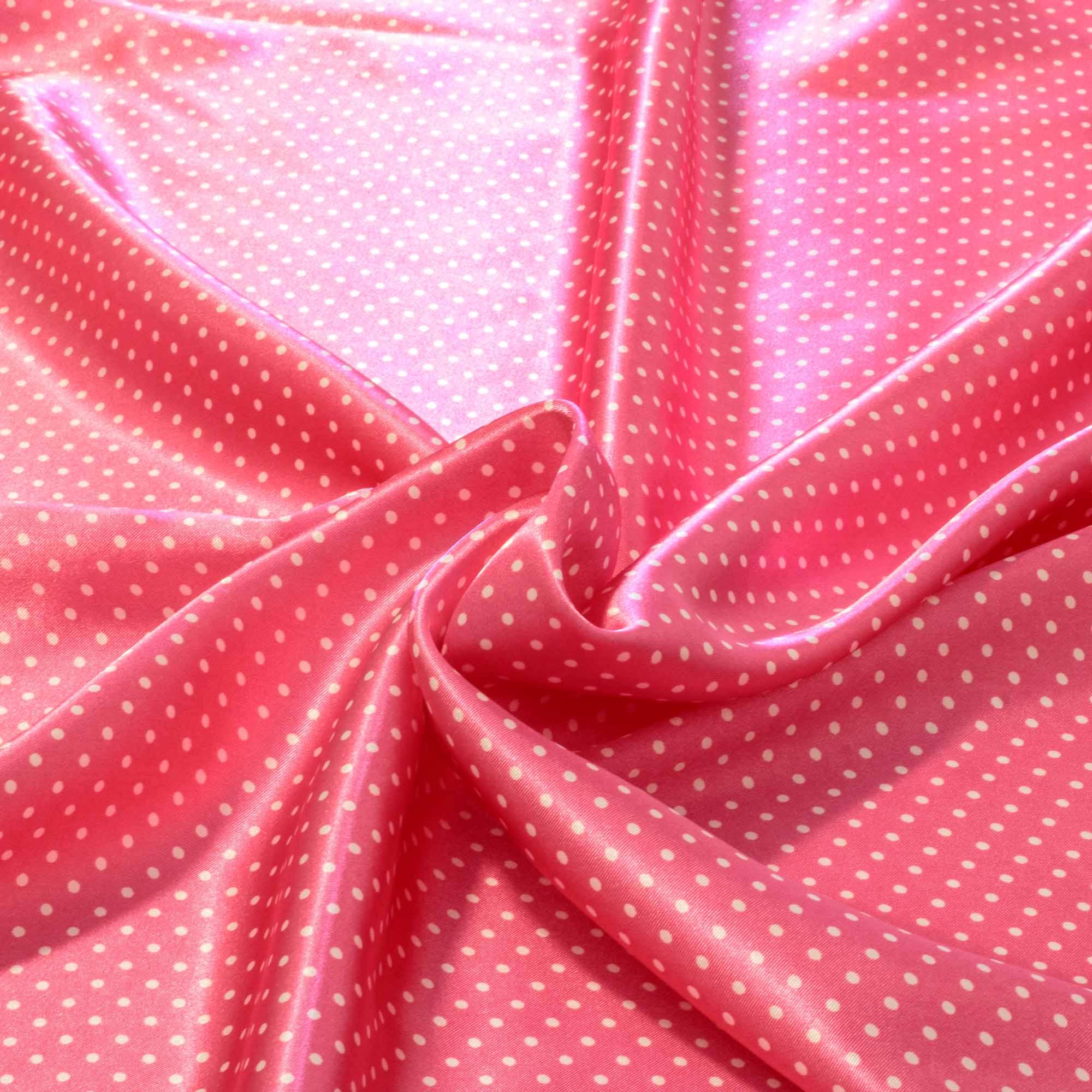 Tecido Cetim Estampado Poa Bolinhas Brancas Fundo Rosa 100% Poliester 1,40 m Largura