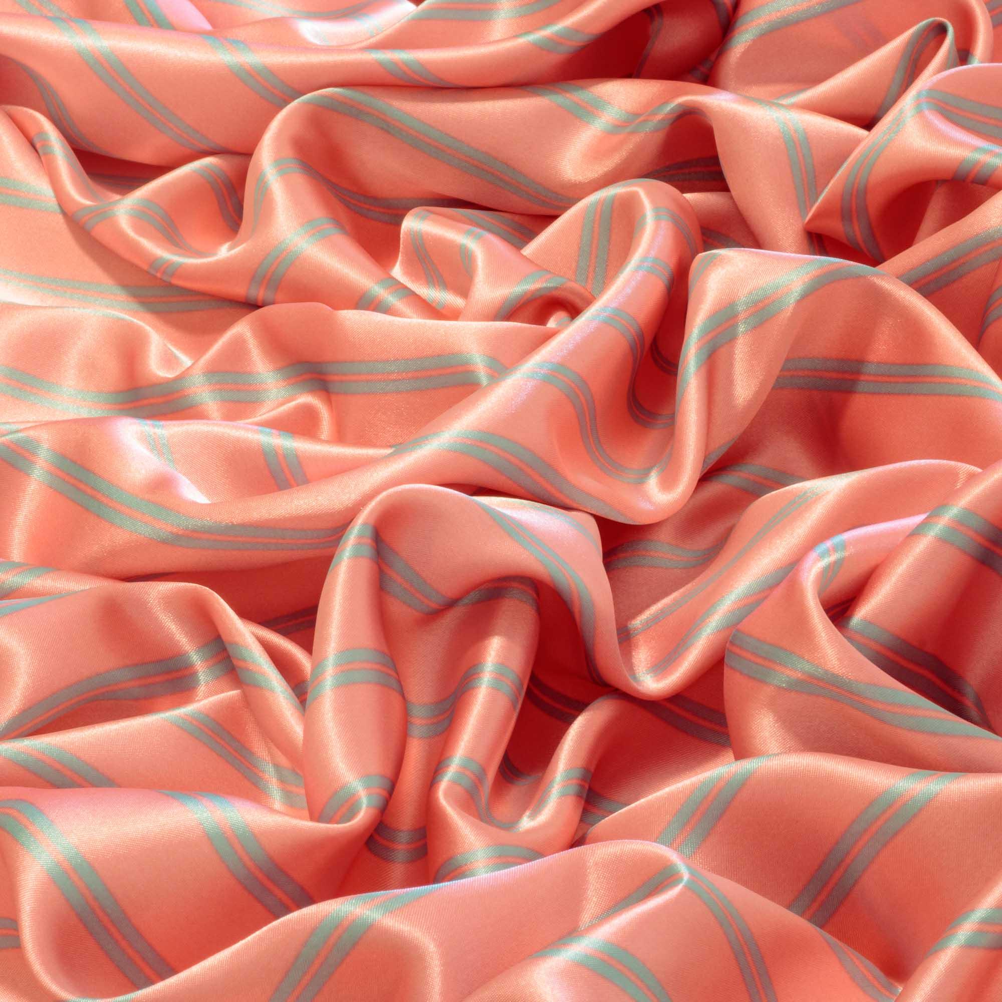 Tecido Cetim Listrado Fundo Rosa 100% Poliester 1,40 m Largura