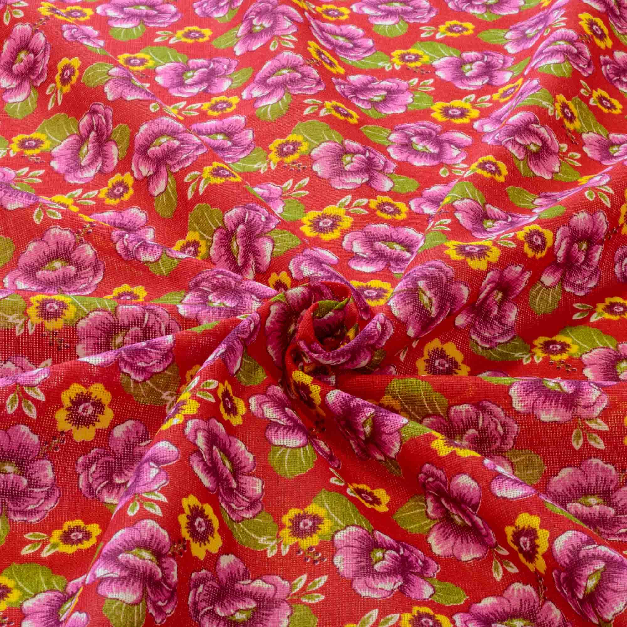 Tecido Chita Estampada Flor Roxa 100% Algodão Fundo Vermelho