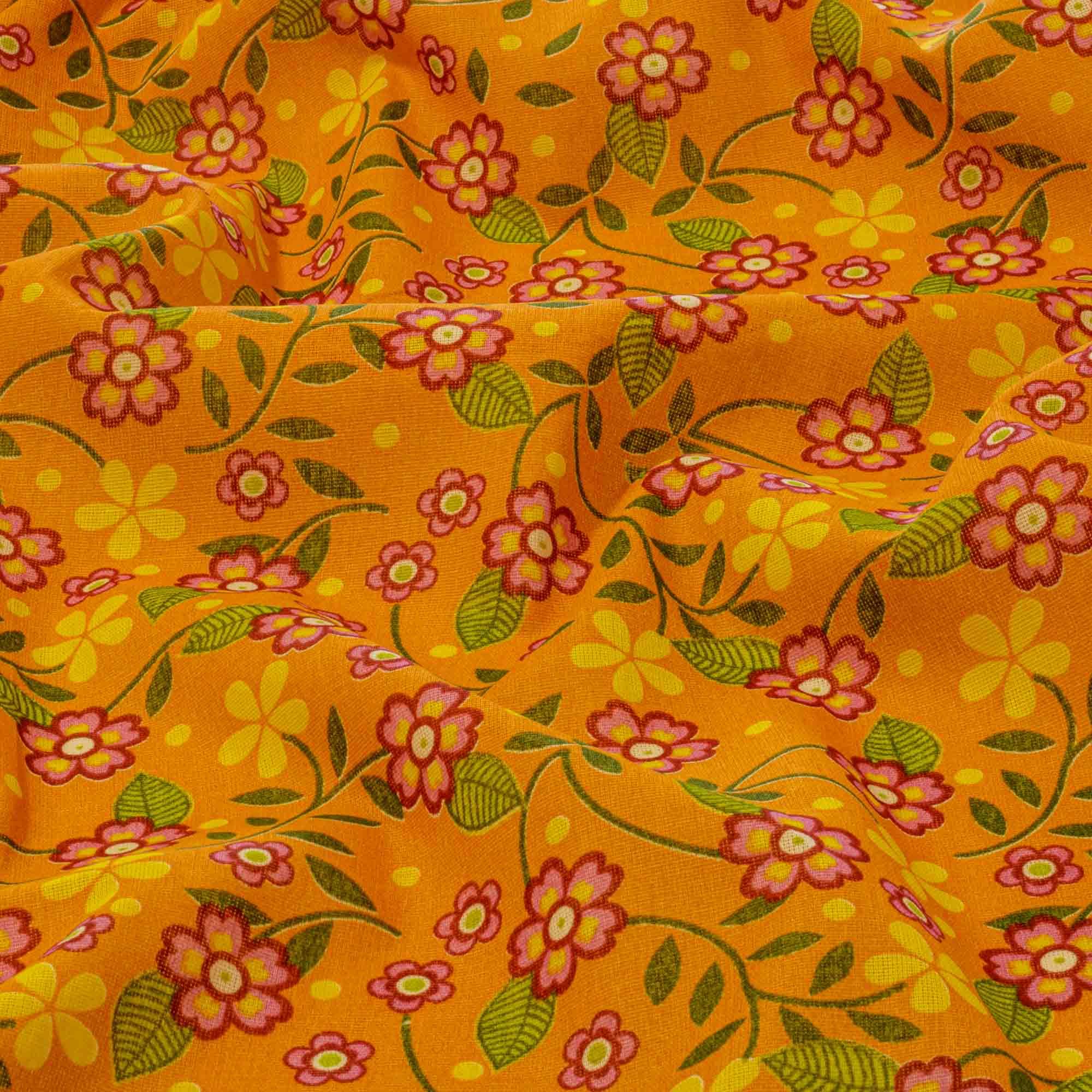 Tecido Chita Estampada Floral Fundo Abobora 100% Algodão 1,40 Mt Largura