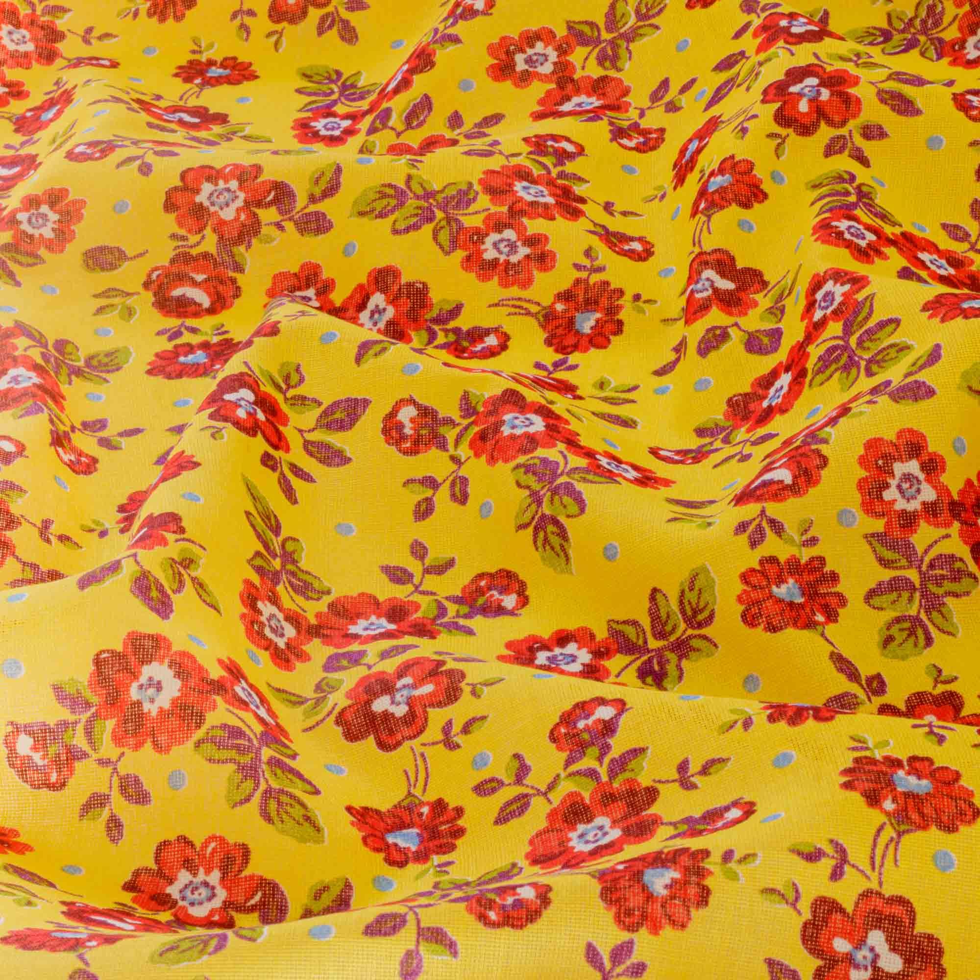 Tecido Chita Estampada Floral Fundo Amarelo Canario 100% Algodão 1,40 Mt Largura