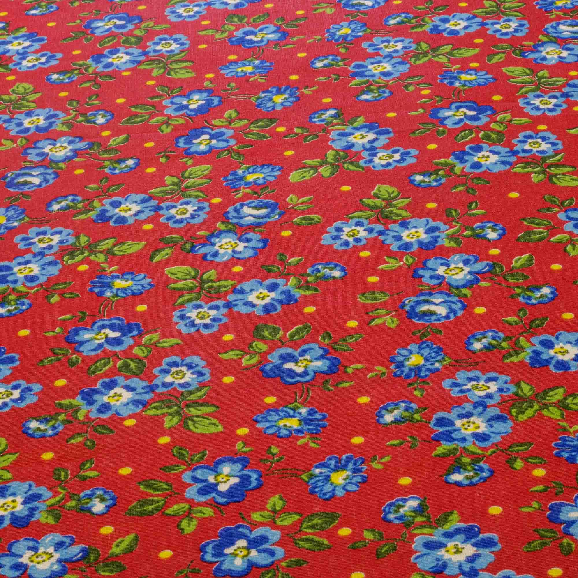 Tecido Chita Estampada Floral Fundo Vermelho 100% Algodão 1,40 Mt Largura