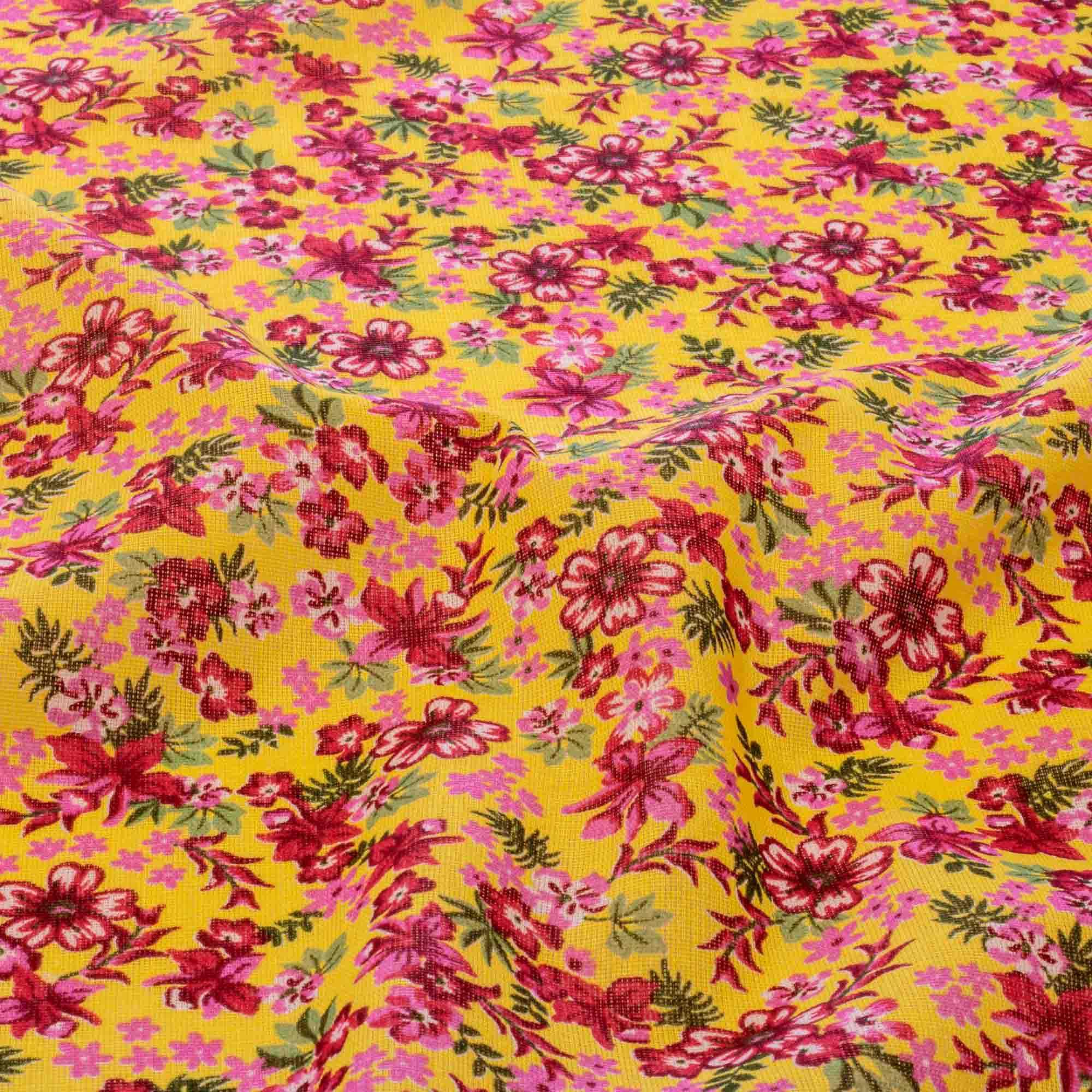 Tecido Chita Estampada Flores Marsala 100% Algodão Amarelo