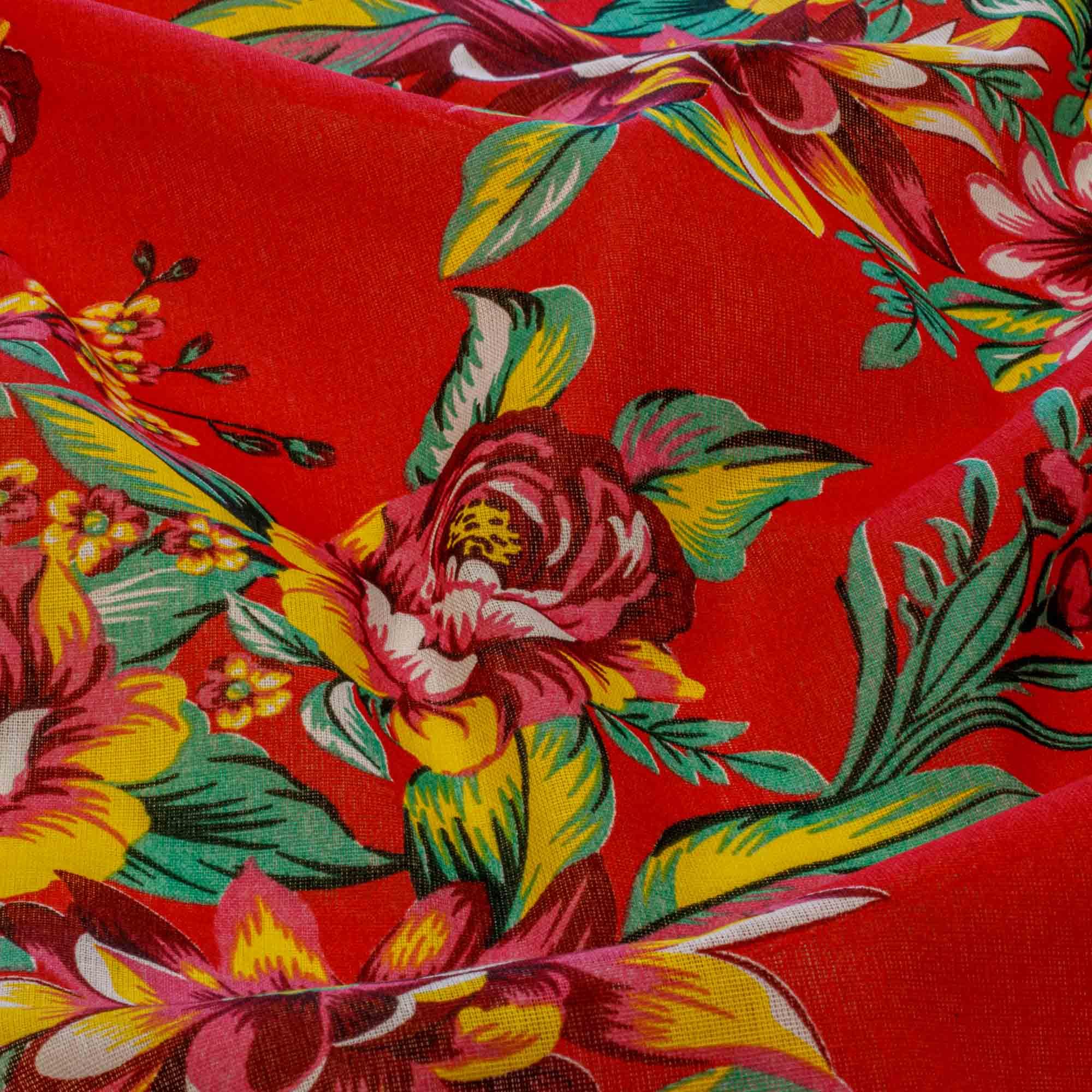 Tecido Chitão Estampada Flores Pink 100% Algodão Fundo Vermelho