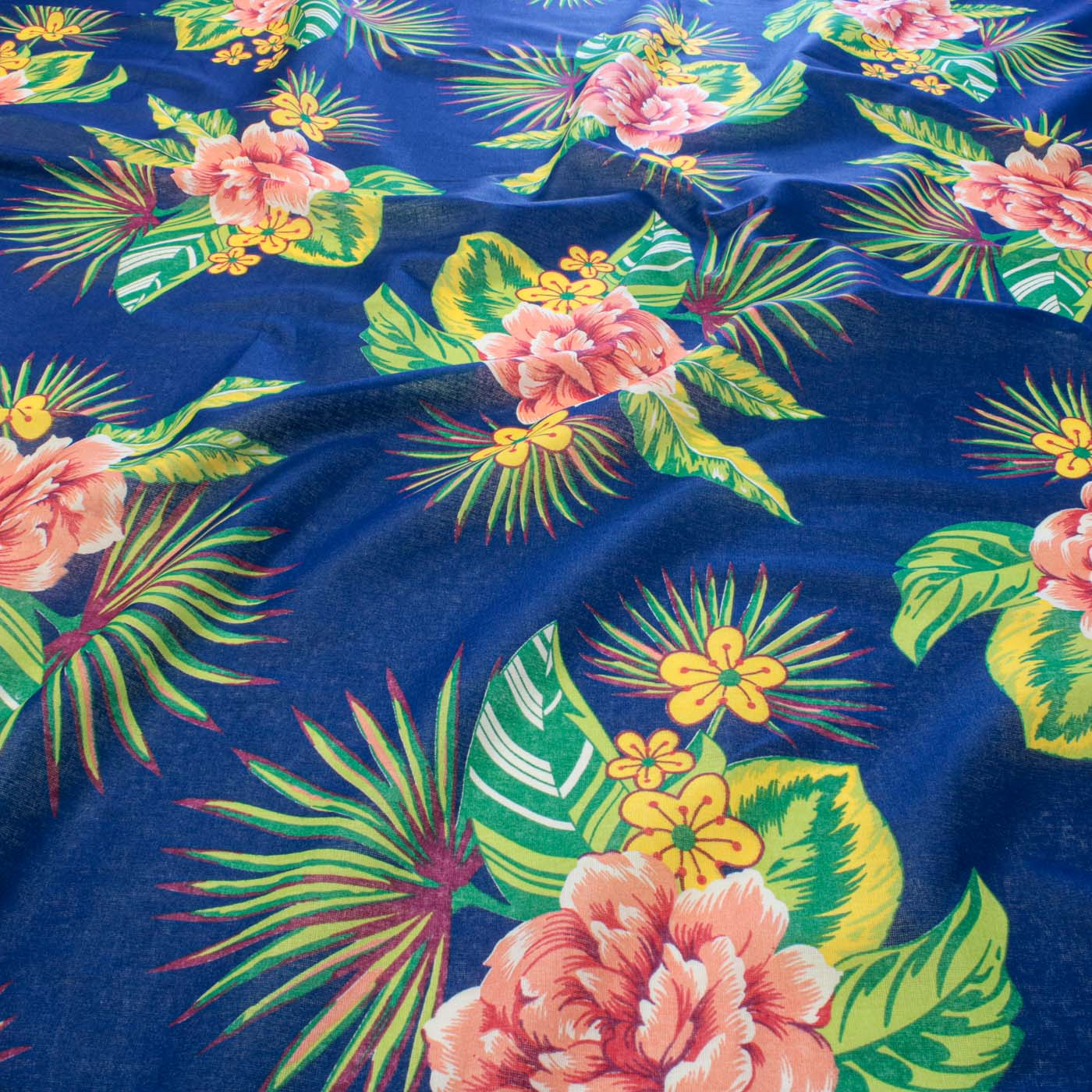 Tecido Chitão Estampado Flores 100% Algodão Azul Royal