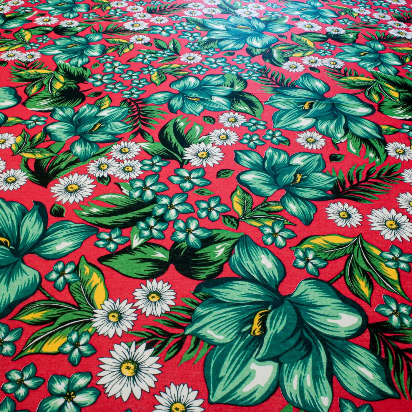Tecido Chitão Estampado Flores 100% Algodão Fundo Vermelho