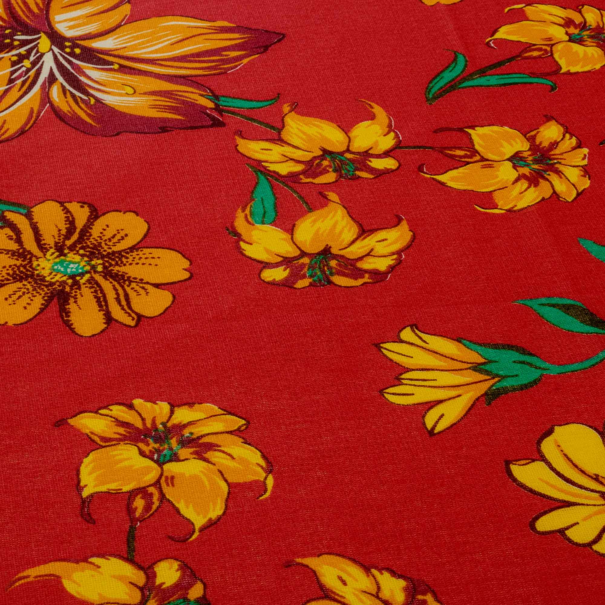 Tecido Chitão Estampado Flores 100% Algodão Vermelho