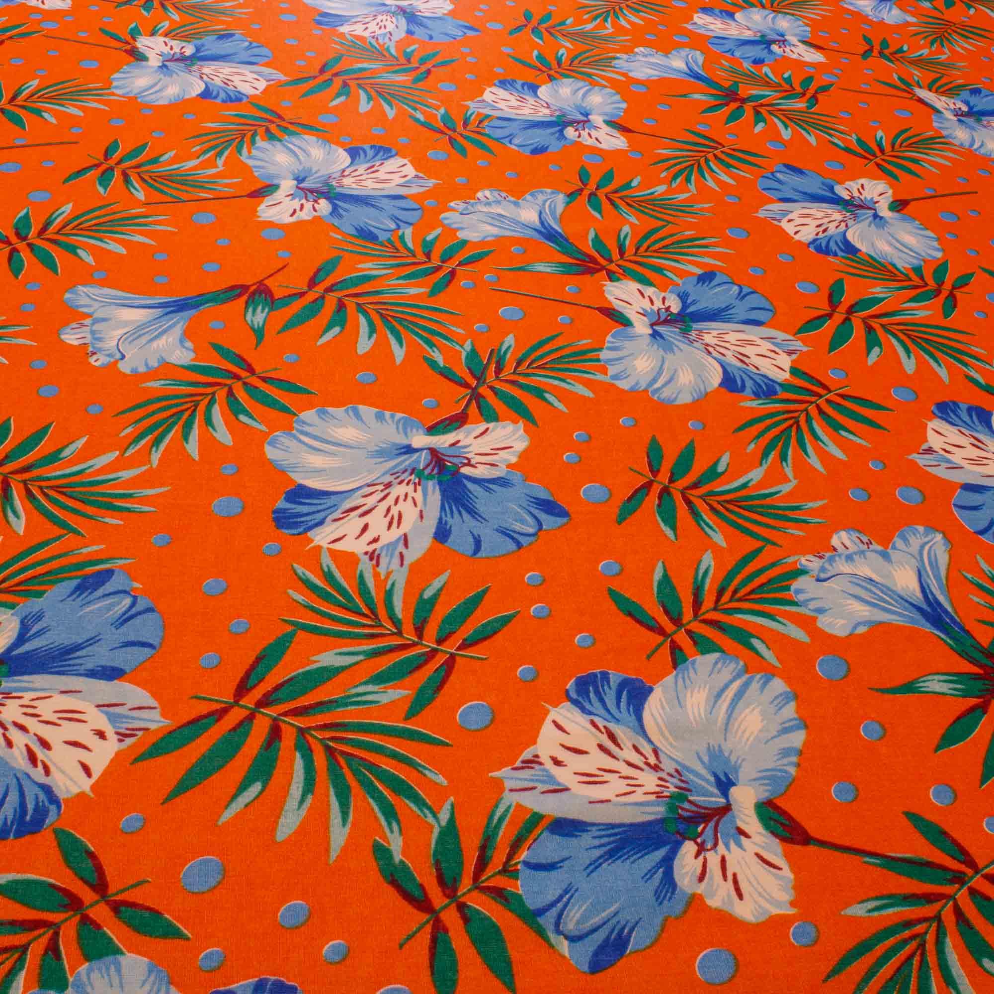 Tecido Chitão Estampado Flores Azuis 100% Algodão Fundo Abobora