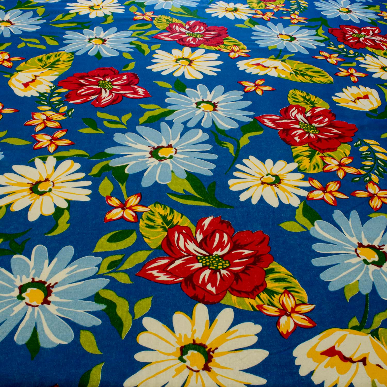 Tecido Chitão Estampado Flores&Folhas 100%Algodão Azul Royal