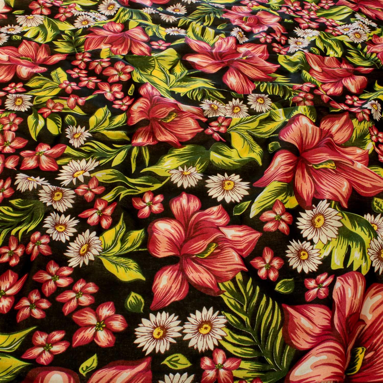 Tecido Chitão Estampado Flores&Folhas 100% Algodão Preto