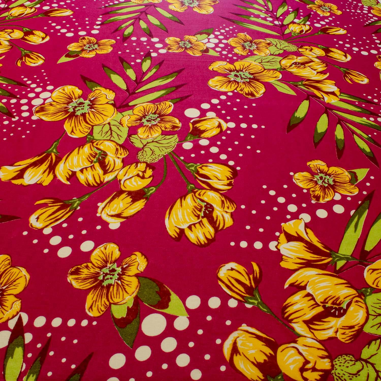 Tecido Chitão Estampado Flores&Folhas 100% Algodão Rosa Pink