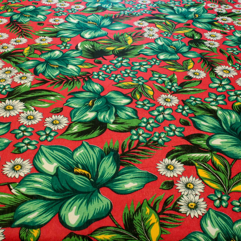 Tecido Chitão Estampado Flores&Folhas 100% Algodão Vermelho