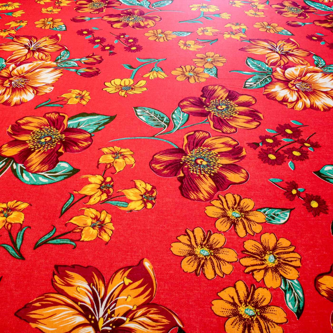Tecido Chitão Estampado Flores Laranja 100% Algodão Fundo Vermelho