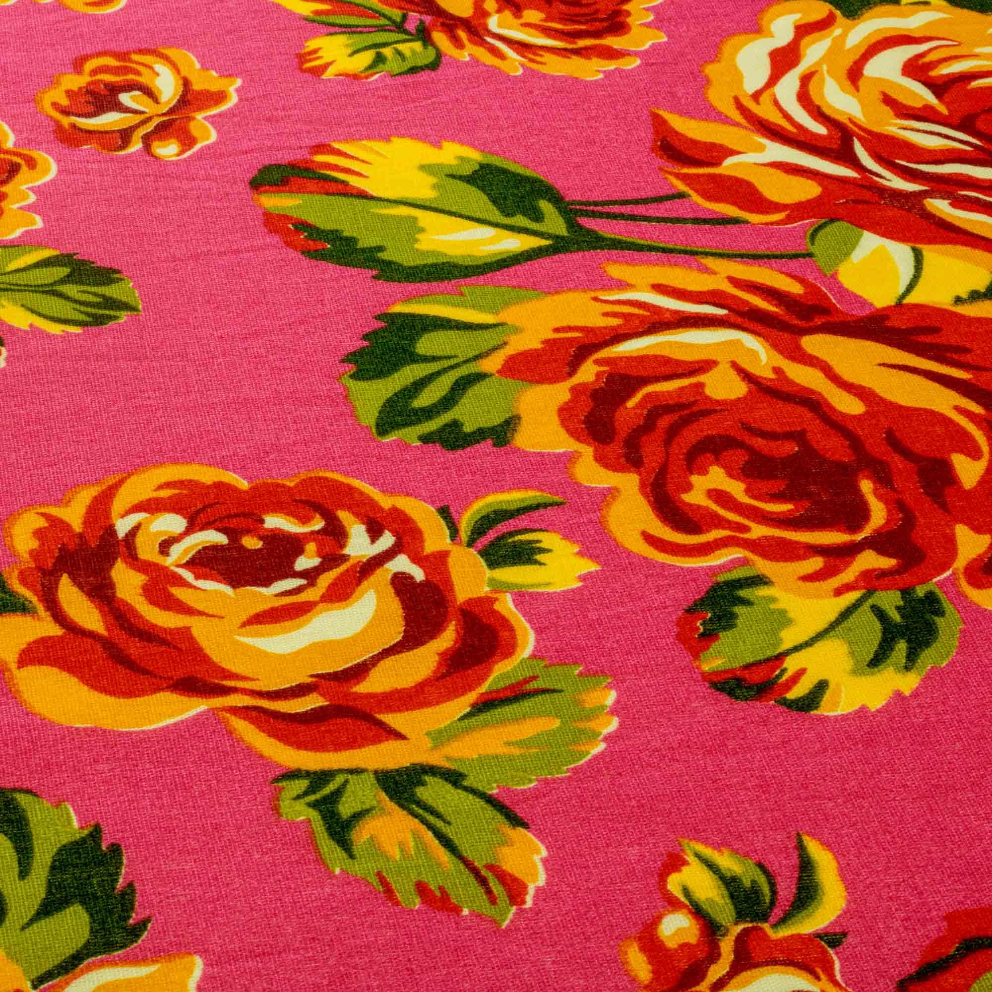Tecido Chitão Estampado Flores Laranja Fundo Rosa 100% Algodão